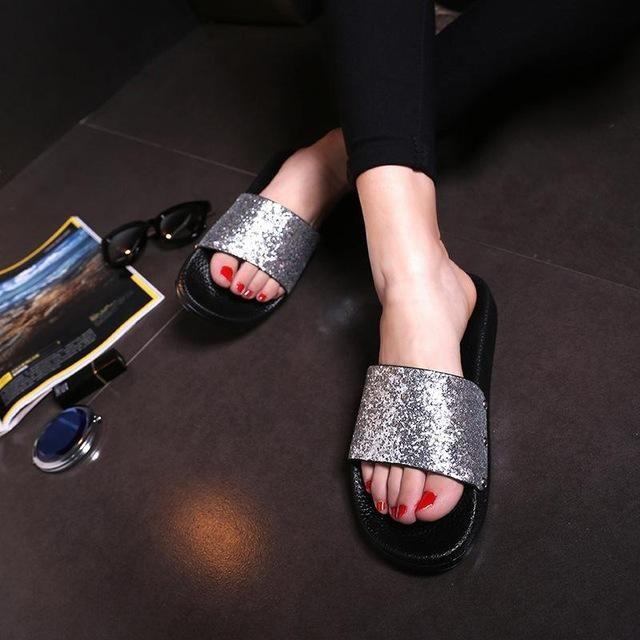 3aab8ea12 Bling Summer Women Slides Slippers Sandals Flip Flops Sexy Open Toe Slides  Female Fashion Glitter Sandals Platform Zapatillas