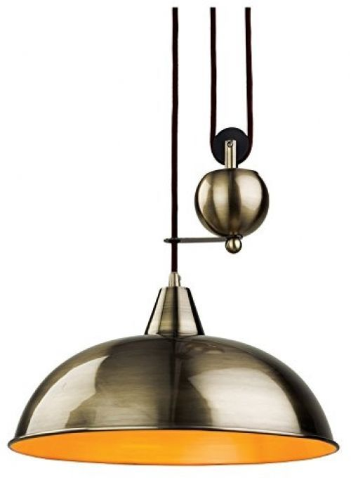 Antique Brass Rise And Fall Pendant Light Adjustable Height Modern