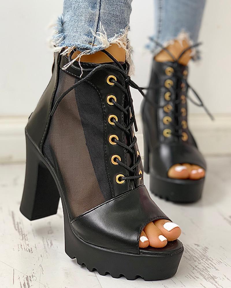 Eyelet laceup mesh pu splicing peep toe chunky heels