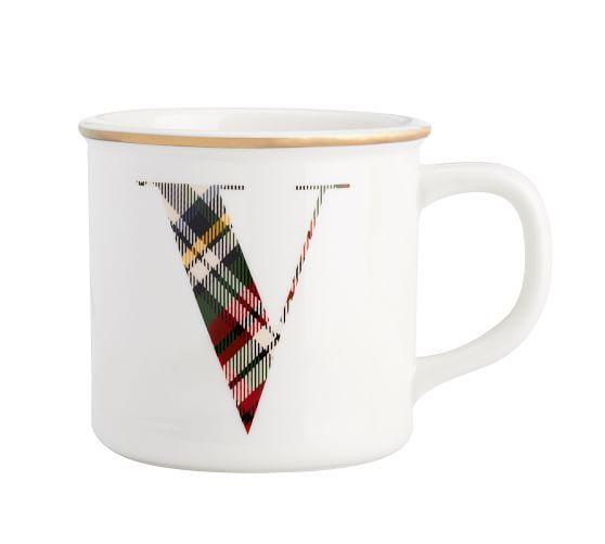 Plaid Alphabet Mug: Plaid Alphabet Mug #potterybarn