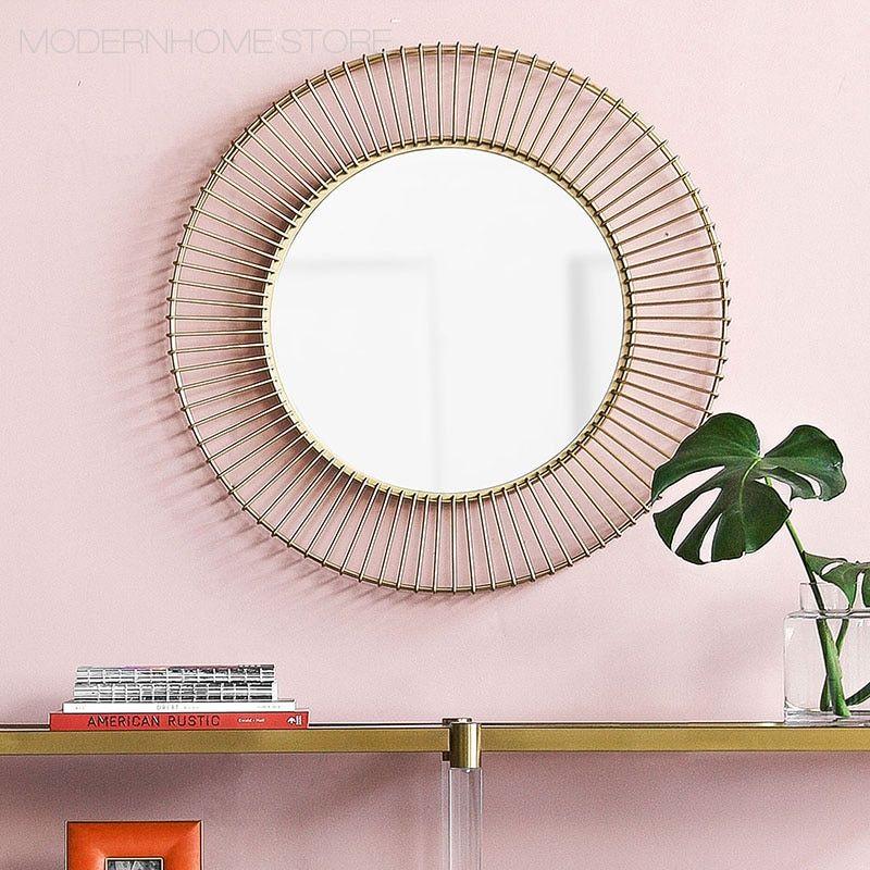 الحديثة الكلاسيكية لوفت جديد معدن بتصميم أنيق سلك شعبية الذهب اللون الحائط كبير حجم الحمام جولة الزخرفية مرآة 1 قطعة اشتر من جهات البي Mirror Decor Home Decor