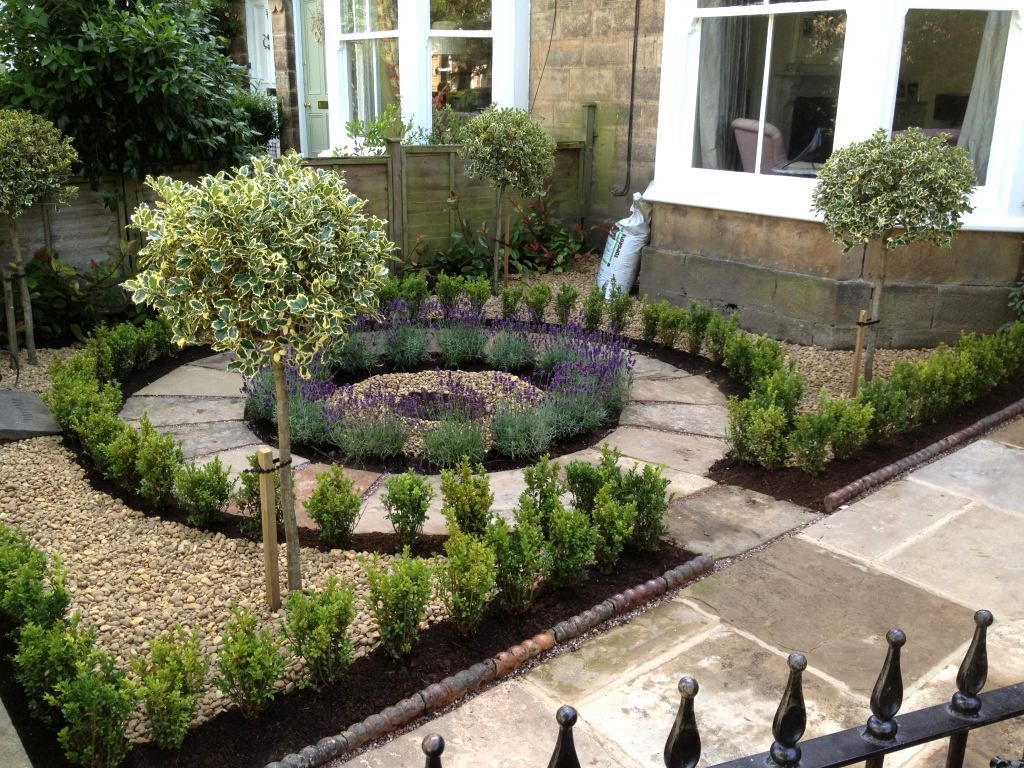 beautiful no grass formal front yard garden design with lavender box and standard euonymus