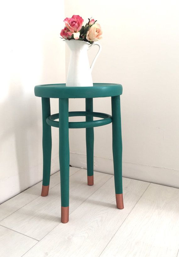 Painted Teal Bentwood Style Stool with by BeautifulPigInterior