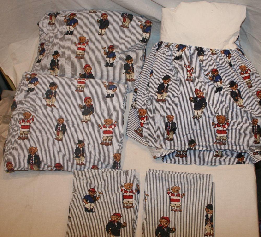 Polo Ralph Lauren 5pc Queen Size Teddy Bear Bedding Set