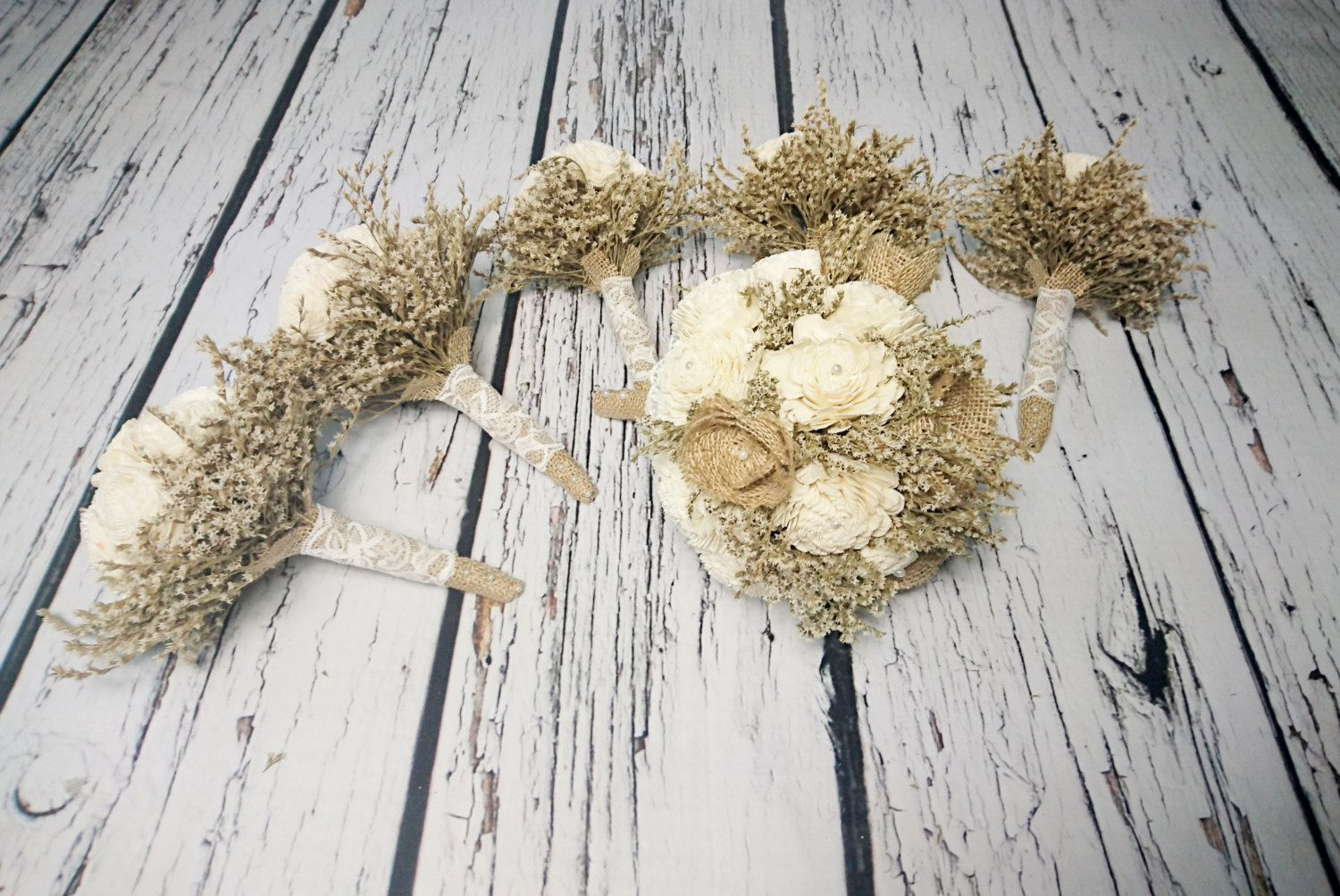 Bridal flowers package MEDIUM bridal 5 small bridesmaids BOUQUETS Ivory cream rustic pearls dried limonium Burlap lace Flower girl toss - pinned by pin4etsy.com