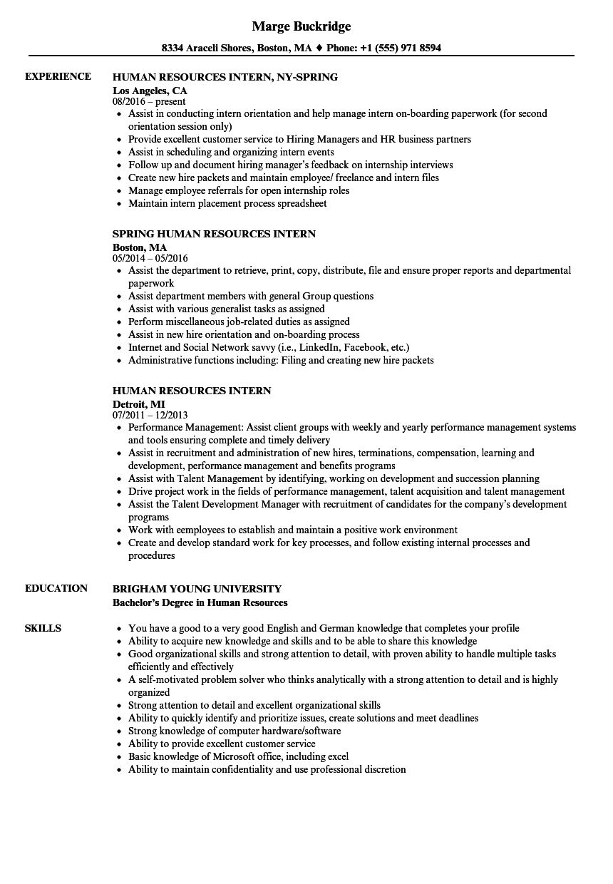 Here Some Writing Tips And Examples Of Human Resources Resume Resume Examples Internship Resume Human Resources Resume