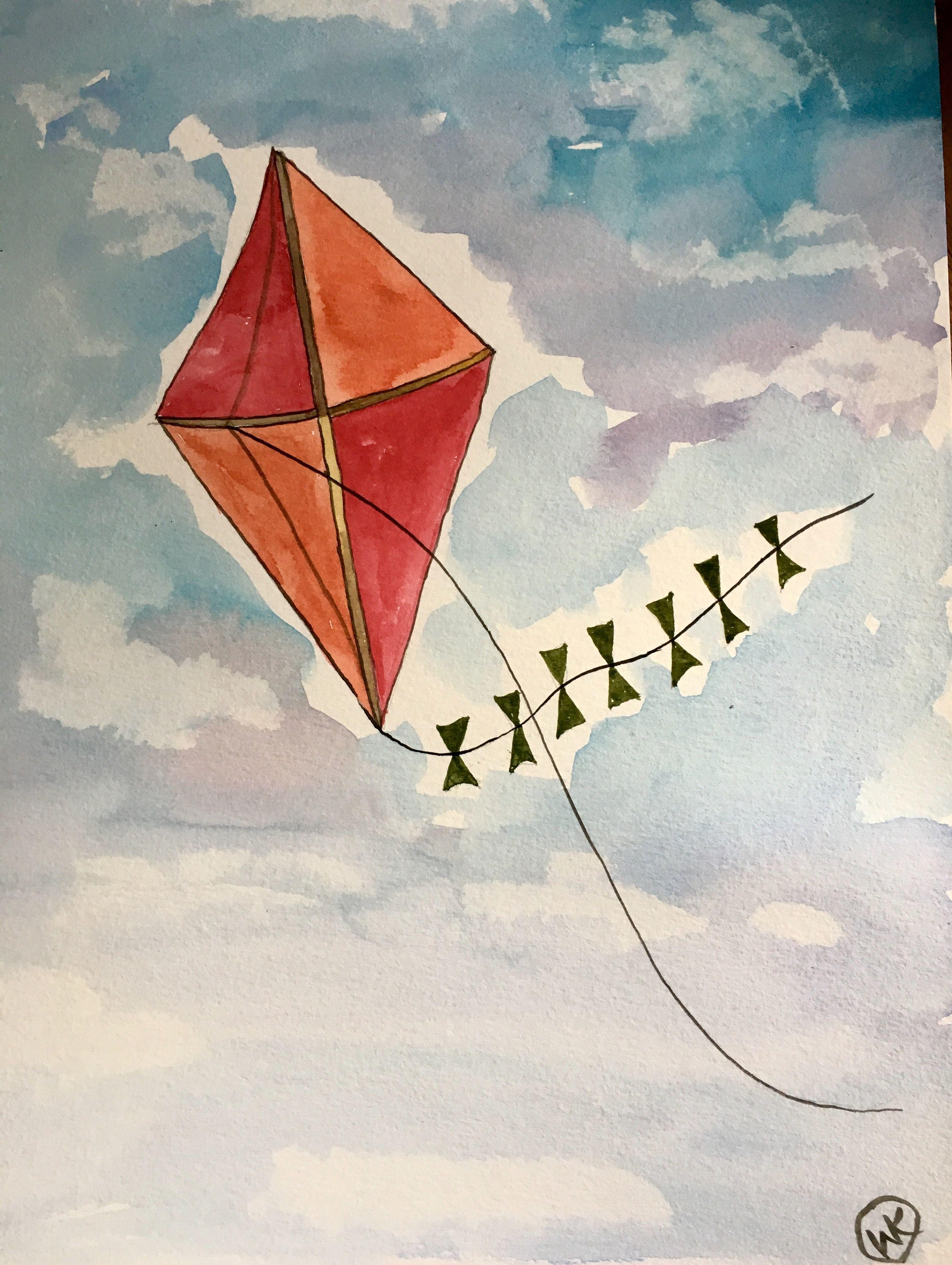 Kite Watercolor 9x12 Drawing Artwork Painting Kite