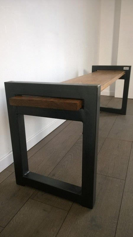 banc industriel design wood metal industrial bench industrial bench upcycled furniture. Black Bedroom Furniture Sets. Home Design Ideas