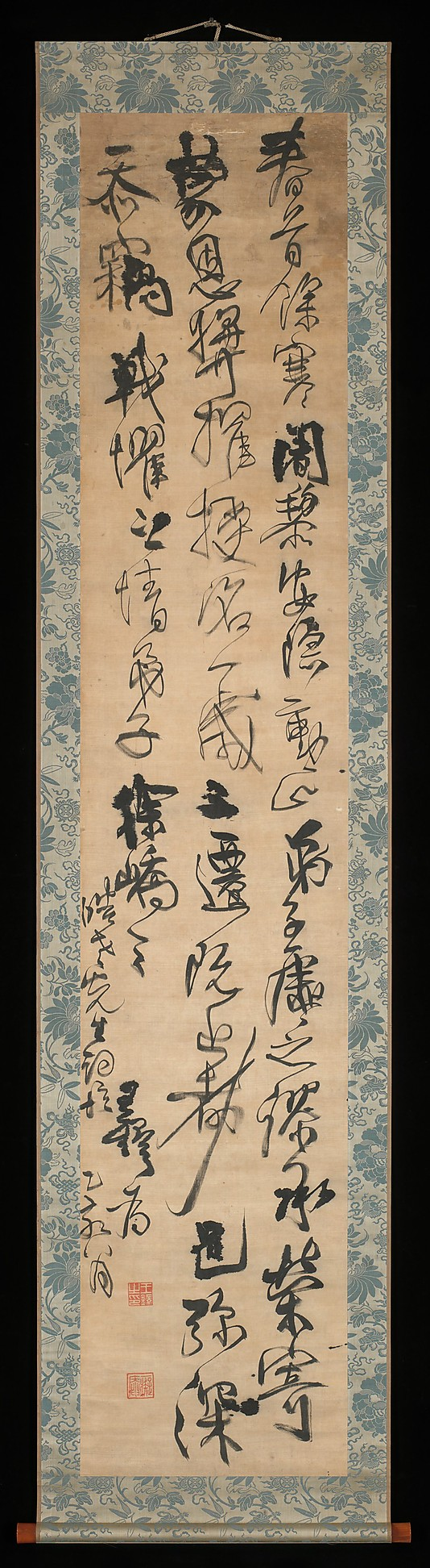 Calligraphy by  Wang Duo (Chinese, 1592–1652). Period: Ming dynasty (1368–1644). Date: 1635. Hanging scroll; ink on silk cloth.  Dimensions: Image: 8 ft. 10 in. × 20 1/16 in. (269.2 × 51 cm)