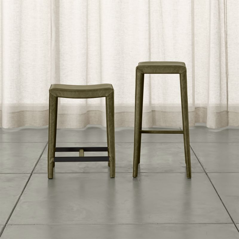 Folio Olive Top Grain Leather Backless Bar Stools Crate And Barrel Backless Bar Stools Bar Stools Counter Stools