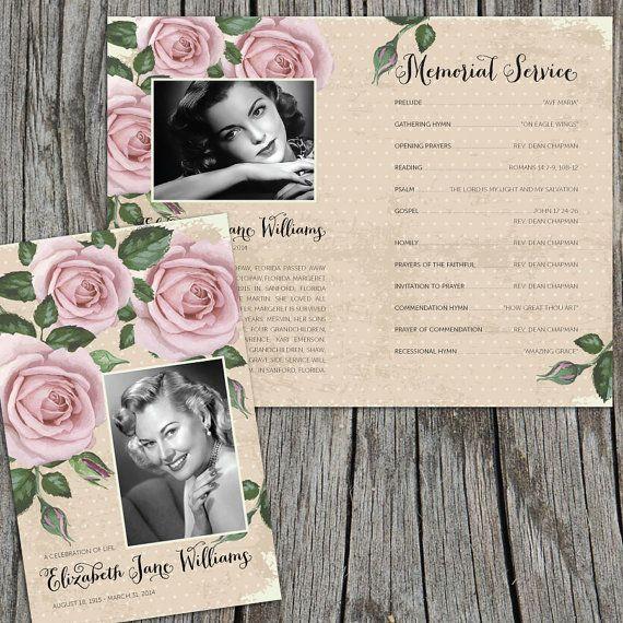 Vintage Purple Roses Funeral or Memorial by FoxDigitalDesign - burial ceremony program