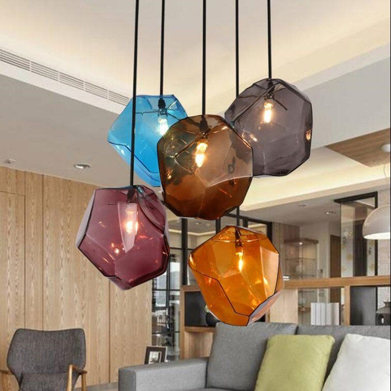 Artsy stone glass pendant lights