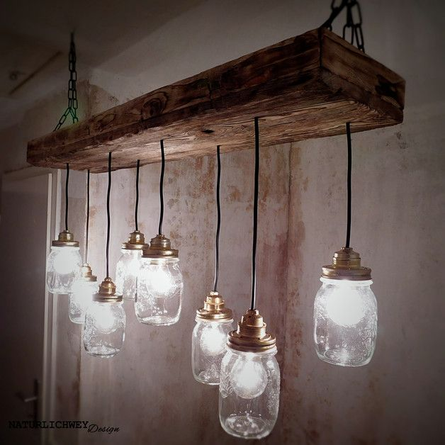 h ngelampe vintage rustikal 8x mason jar s haus in 2019 lampen lampen esszimmer und. Black Bedroom Furniture Sets. Home Design Ideas