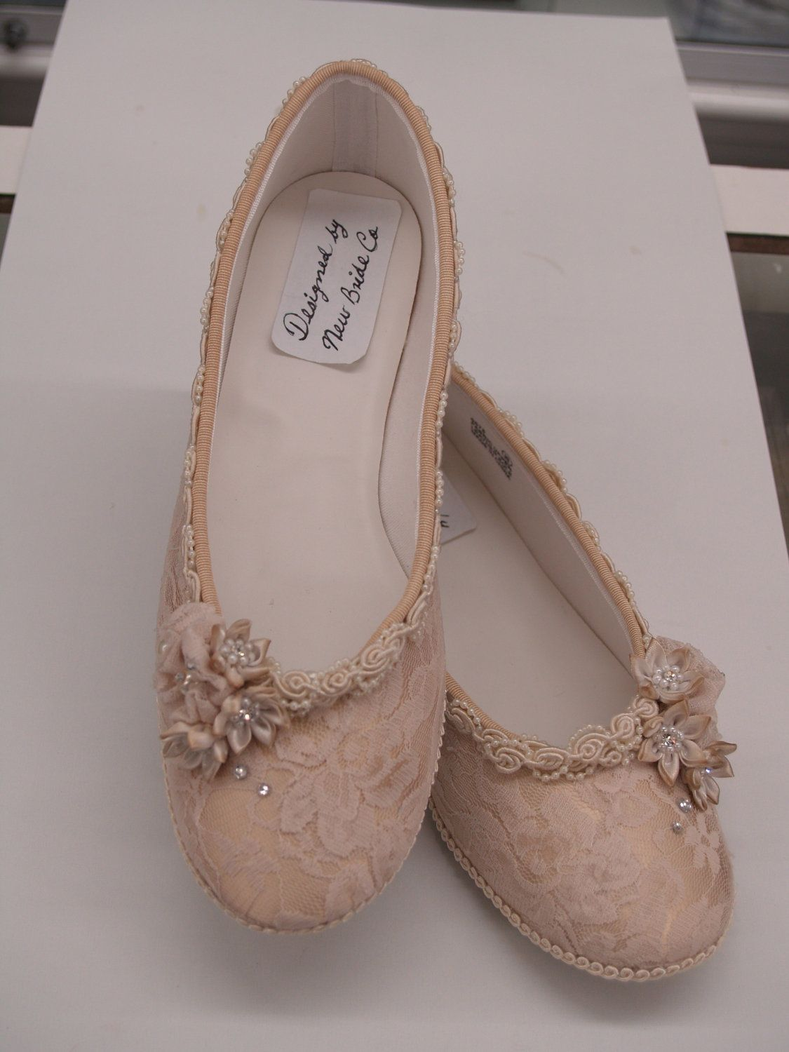 Champagne wedding flats shoes lace vintage modern inspired