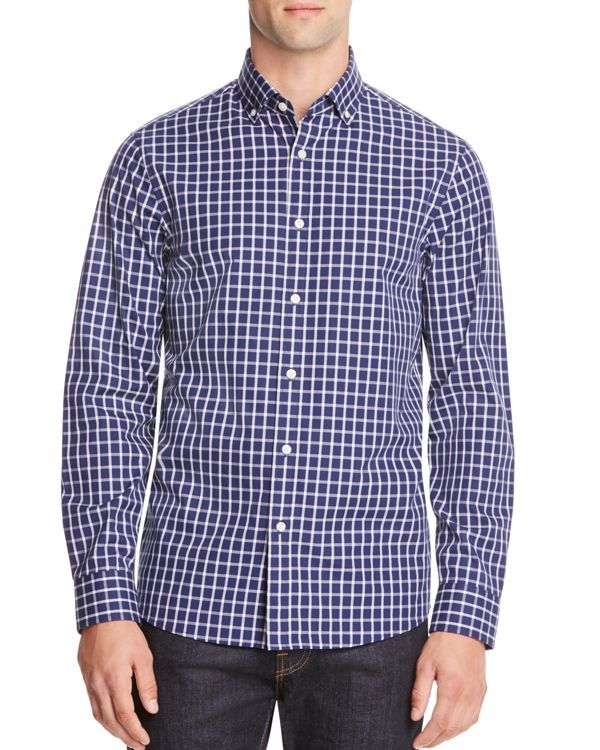 Michael Kors Chase Check Slim Fit Button Down Shirt