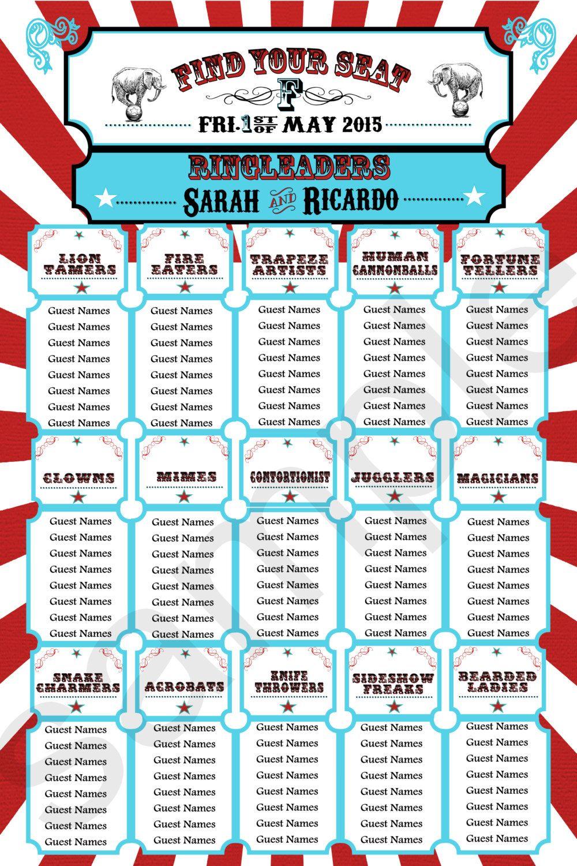 Wedding Seating Chart//Carnival Themed Seating Chart // Circus Theme ...