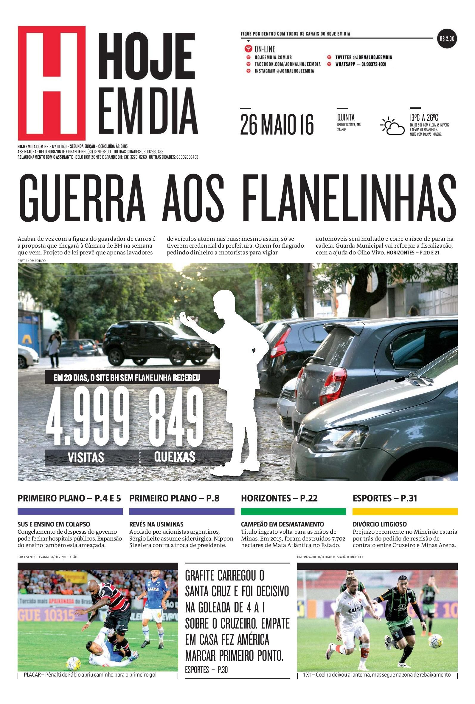 Capa do dia 26/05/2016 #HojeEmDia #Jornal #Notícias #News #Newspaper