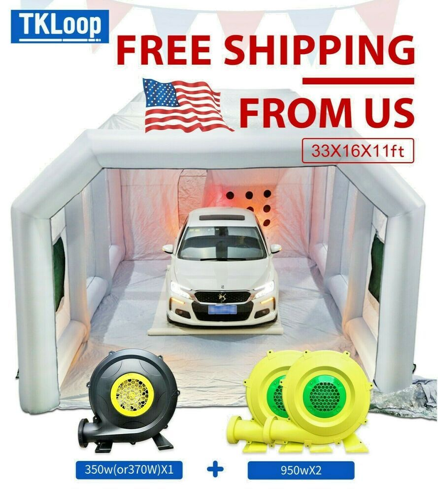 33x16x11ft Inflatable Car Spray Booth Custom Tent With Blowers