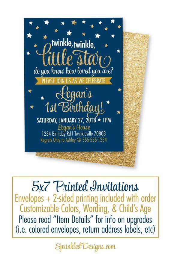Twinkle Little Star Birthday Invitations Theme Invitation Boy Invit