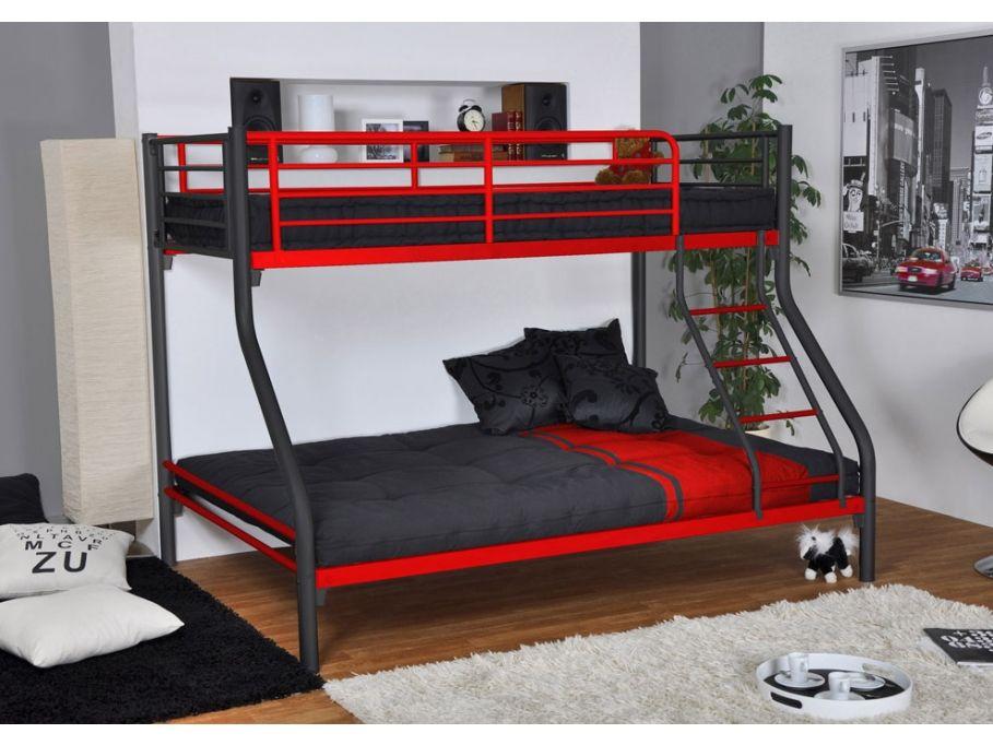 Lits superpos s elevatio 90 140x190cm noir et rouge - Chambre garcon lit superpose ...