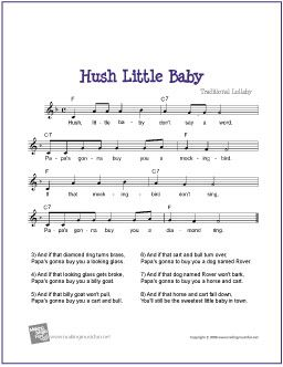 Hush Little Baby With Images Sheet Music Lyrics And Chords