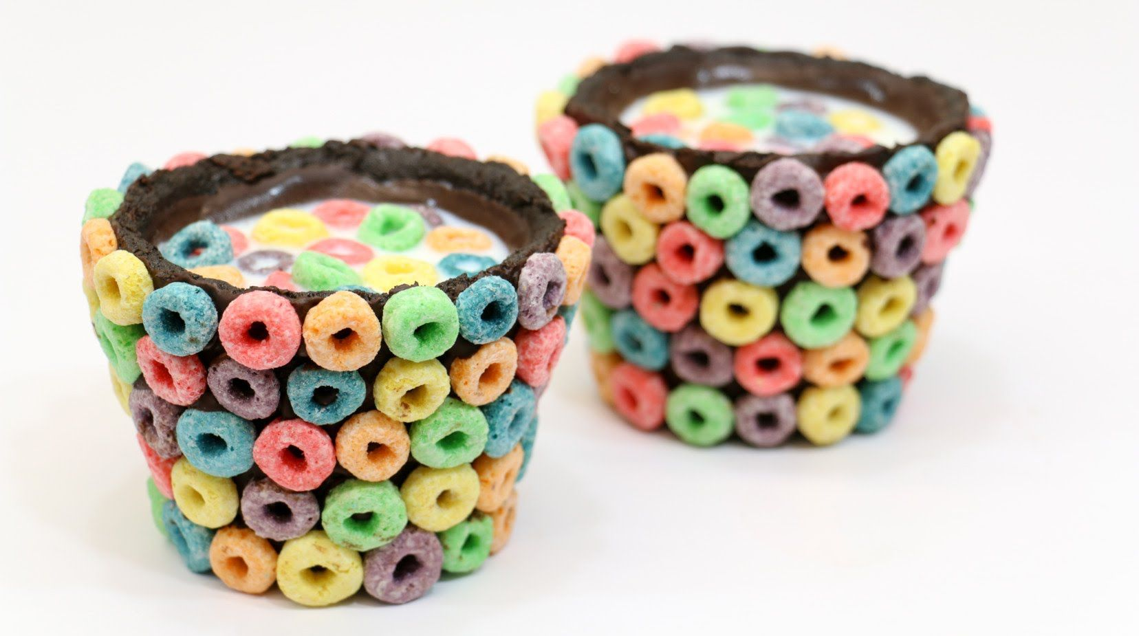 rainbow oreo chocolate cups filled with milk and cereals