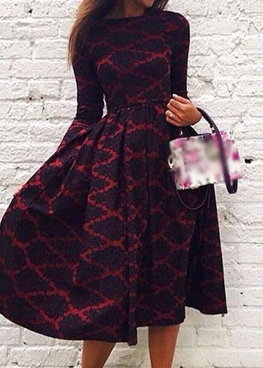 b231d104c461 Elegant Long Sleeve Geometric Print Skater Dress in 2019