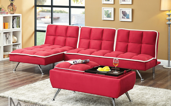 Zeppoles Ii Red Sofa Bed With Images Red Sofa Sofa Bed Microfiber Sofa
