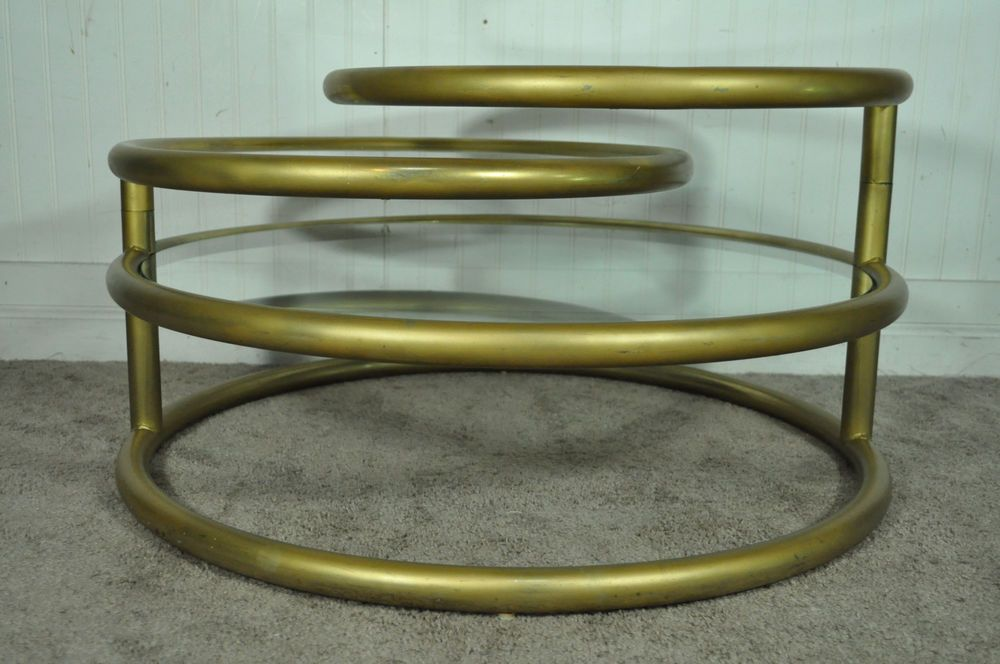 Vtg Hollywood Regency 3 Tier Round Swivel Glass Coffee Table Mid Century Modern Midcentu Mid Century Coffee Table Mid Century Modern Coffee Table Coffee Table