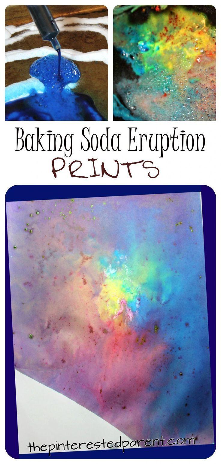 Baking Soda Eruption Prints -   25 unique diy art ideas