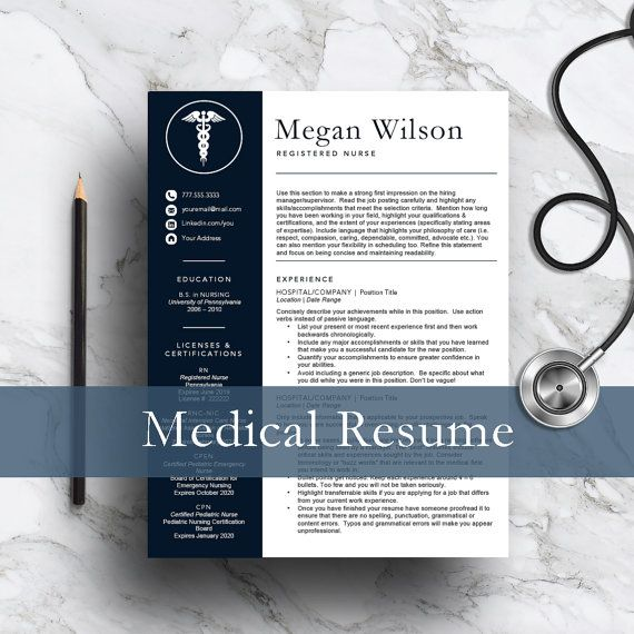 Nurse Resume Template for Word \ Pages perfect for any medical - medical resume template