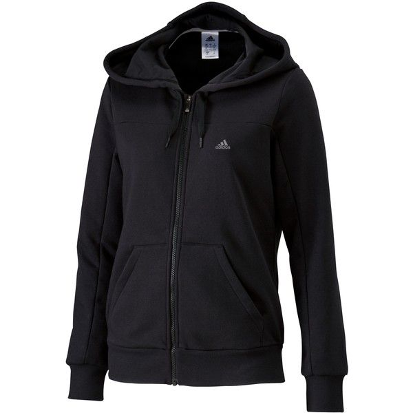 Adidas Essentials Long Sleeve Hooded Top, Black ($54) ❤ liked on Polyvore