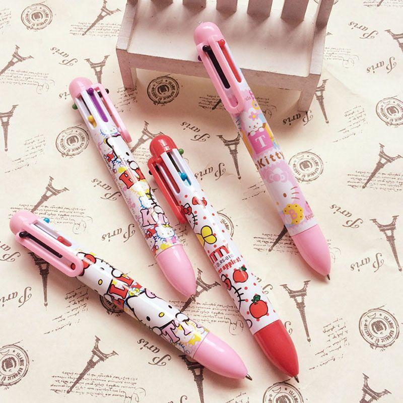 Y38 Cute Kawaii Hello Kitty 6 Colors Press Ballpoint Pen Student - ball office supplies
