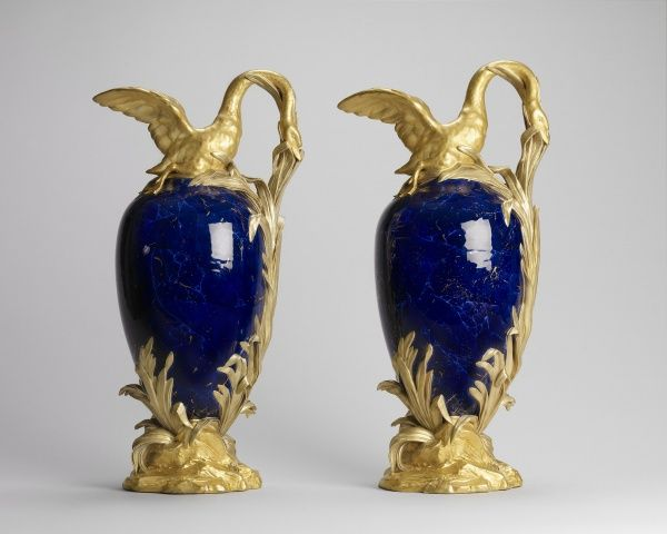 Sèvres porcelain factory Vase cygne à roseau en buire  1781 Hard-paste porcelain, lapis ground and gilded decoration. Transitional Design. Rococo to Neoclassical. France.