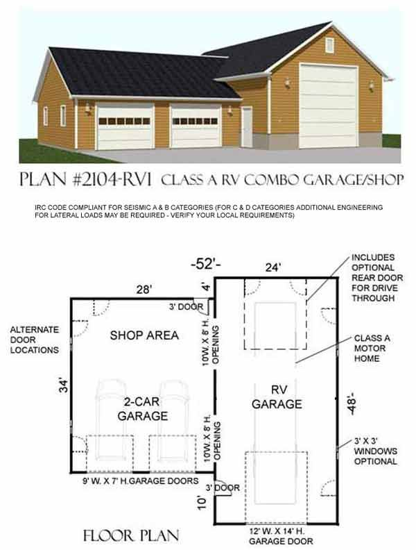 Rv garage plan 2104 rv1 by behm design pole barn for Pole barn for rv storage