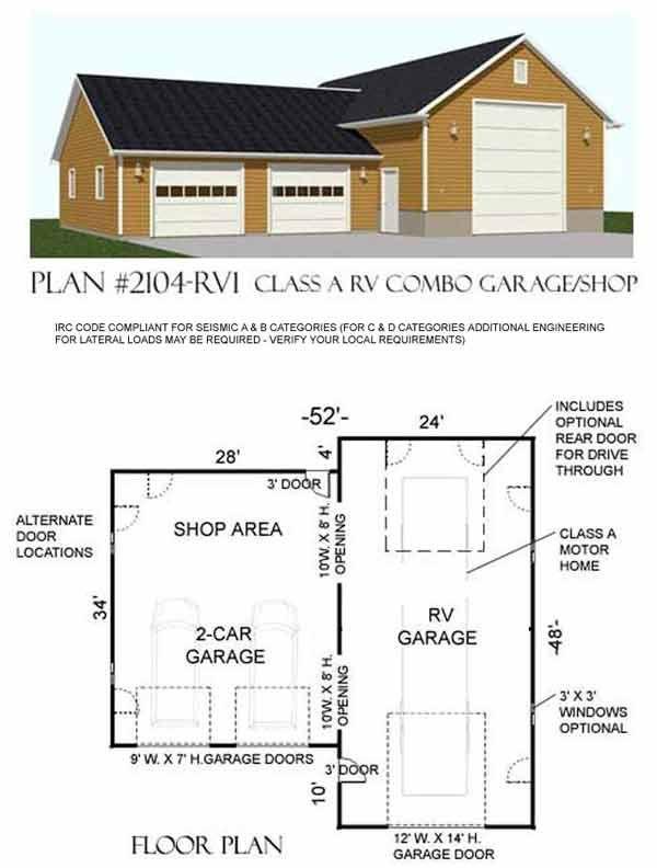Rv garage plan 2104 rv1 by behm design shop garage for Motorhome with large garage