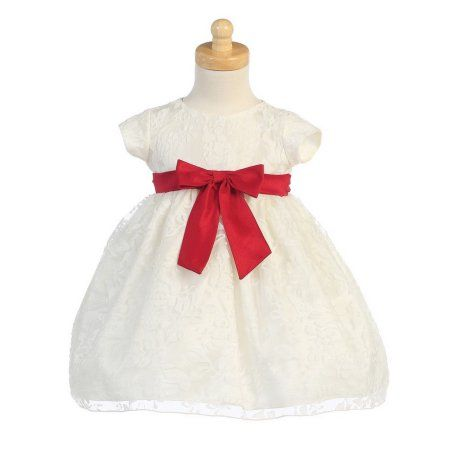 c906124b609f Ivory Organza Burnout Red Bow Baby Girl Christmas Dress 12M ...