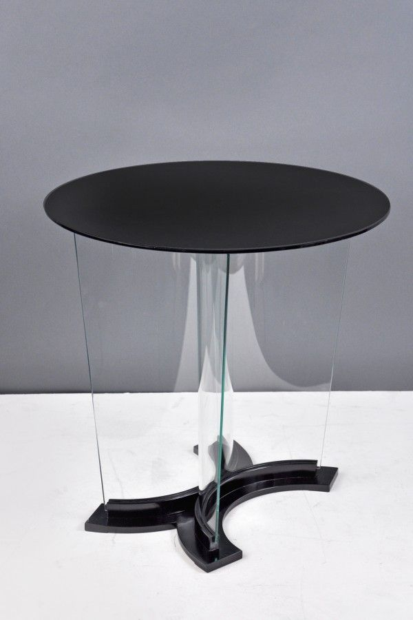 Gio Ponti, Coffee Table With Curved Glass Base, Black Glass Top, C.
