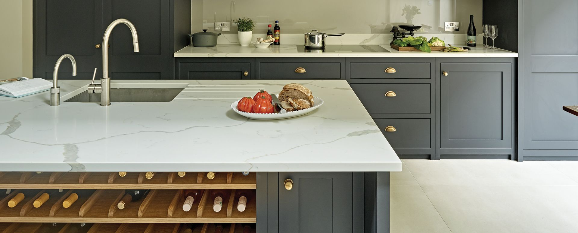 Battersea Kitchen Design  Stylish Shaker Kitchens by Brayer is part of Country Home Accessories Cabinets - View our Battersea kitchen  This kitchen design features dark shaker kitchen cabinets with burnished brass handles & grey Calacatta marbleeffect worktops