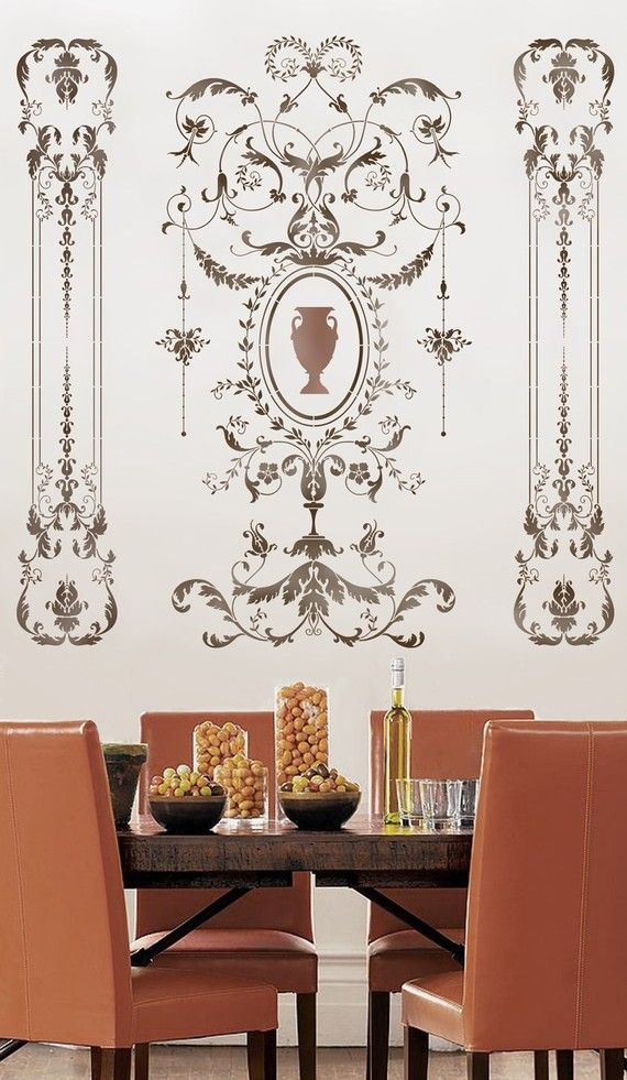 wall stencil versailles side panel lg amazing detail elegant french decor wall punnin. Black Bedroom Furniture Sets. Home Design Ideas