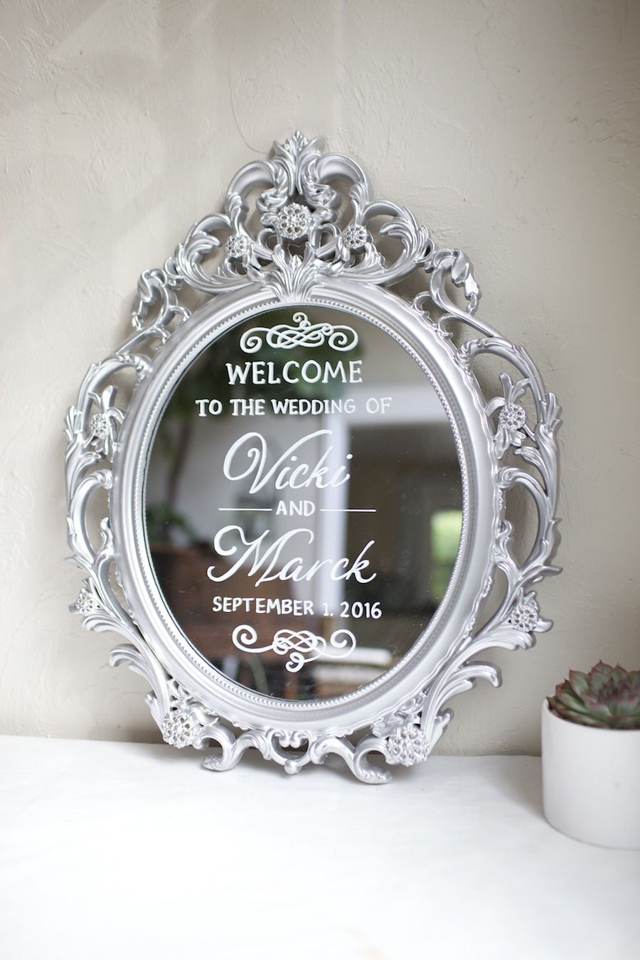 Hand painted wedding on silver ornate mirror