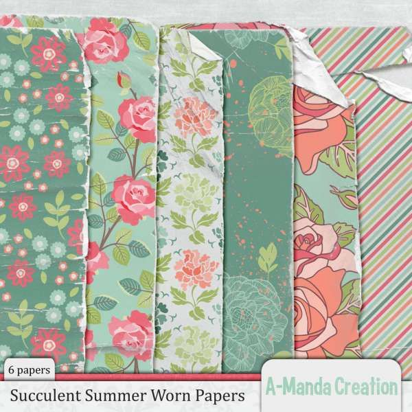 Personal Use :: Paper Packs :: Succulent Summer Worn Papers