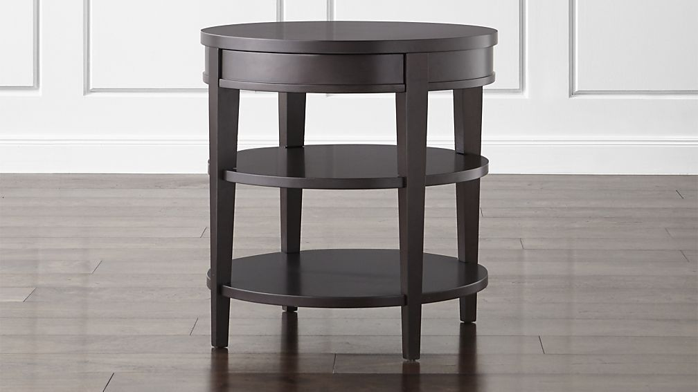Colette Round Side Table With Drawer Crate And Barrel Living Room At Of Sofa
