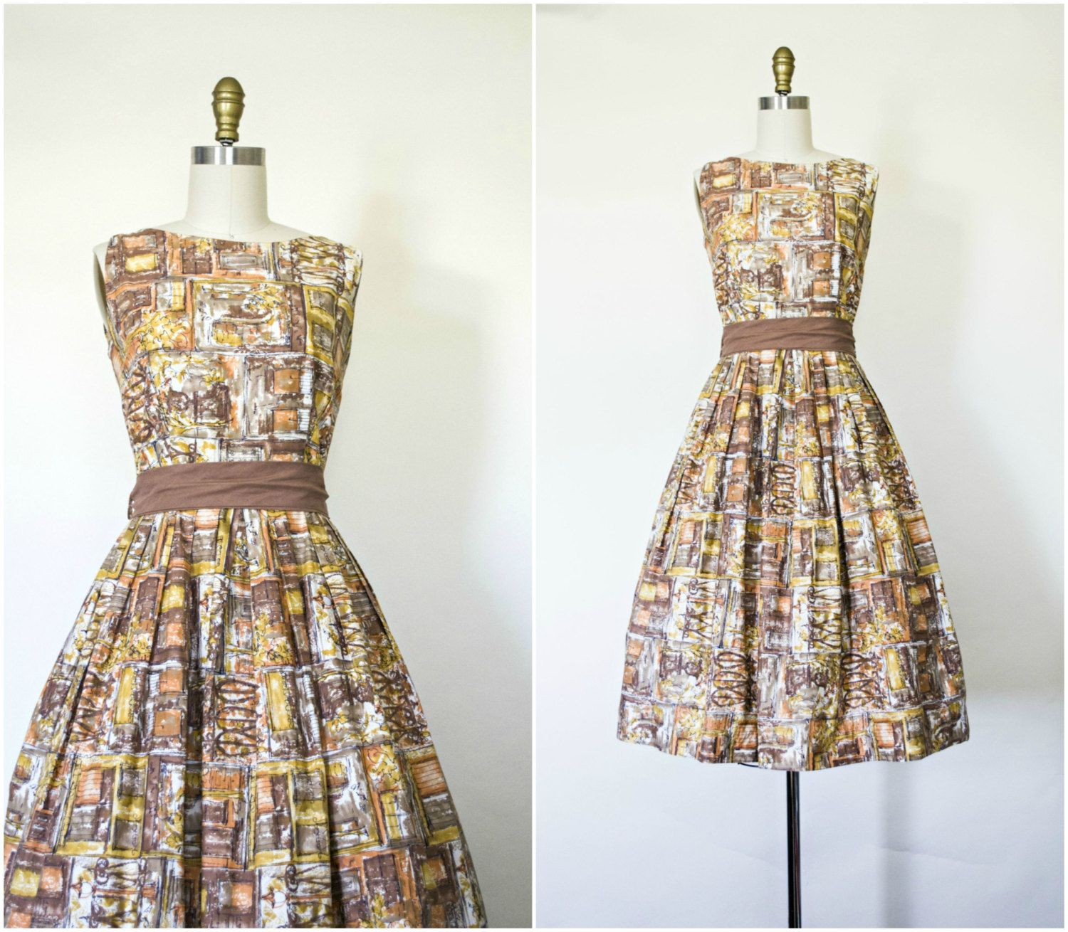 Vintage 1950s brown cotton pin up dress . summer 50s style novelty ...