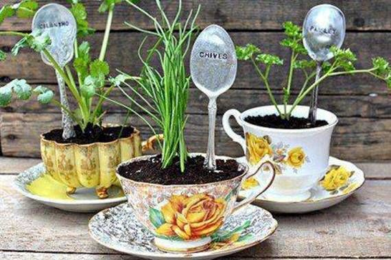 If You Have Some Old Mismatched Teacups Or Come Across Some At A Garage Sale They Make Great Planters For Small P Plant Markers Teacup Gardens Stamped Spoons