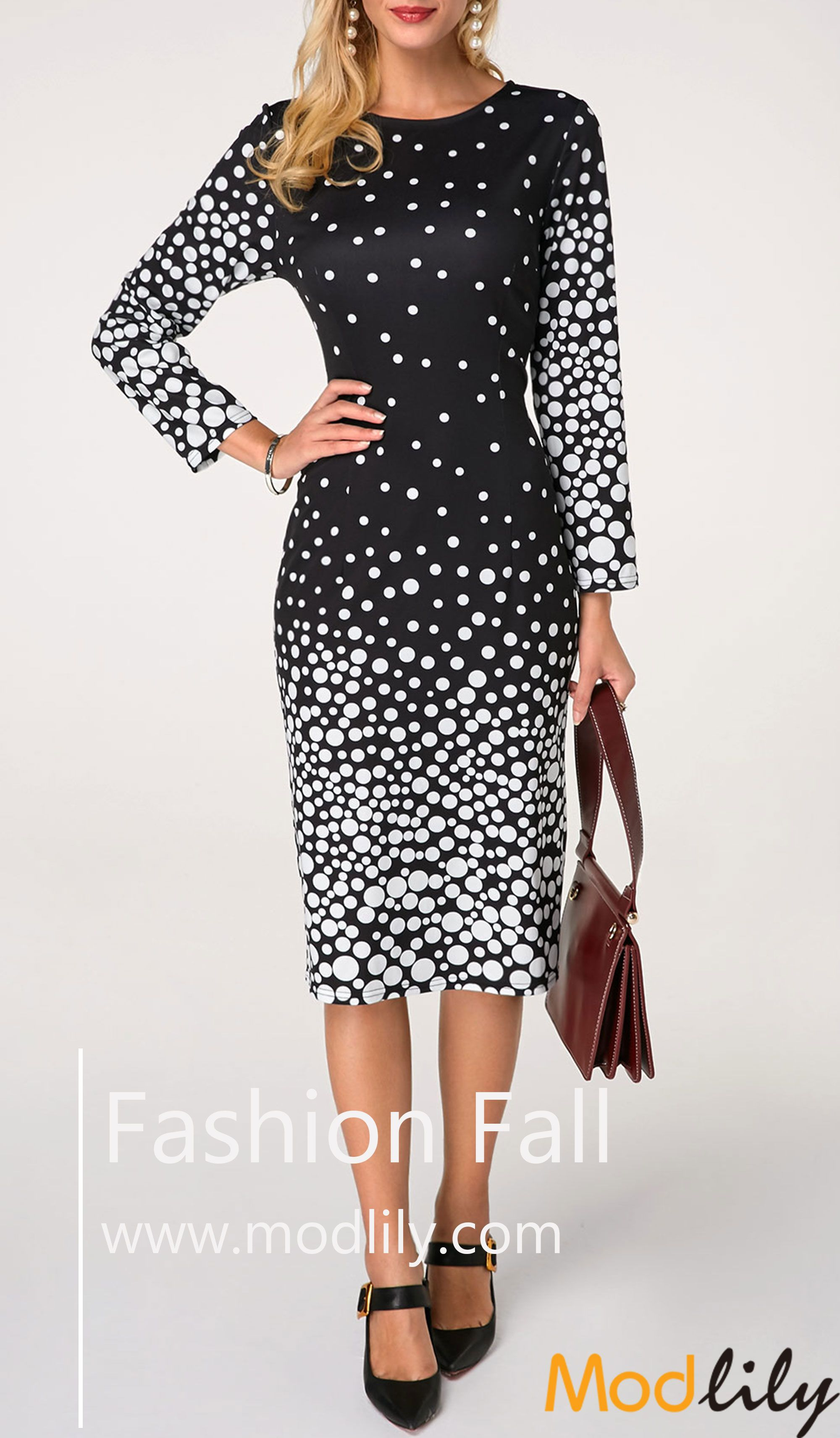 2d611b820cc1 Round Neck Polka Dot Print Midi Dress On Sale At Modlilly. Free shipping.  It is a chance to extend your style of clothes. Action now.