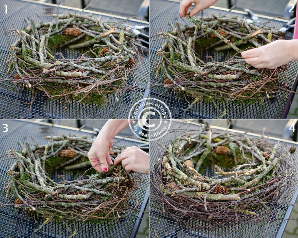 Photo of Step by step instructions for a winter wreath of branches and two …