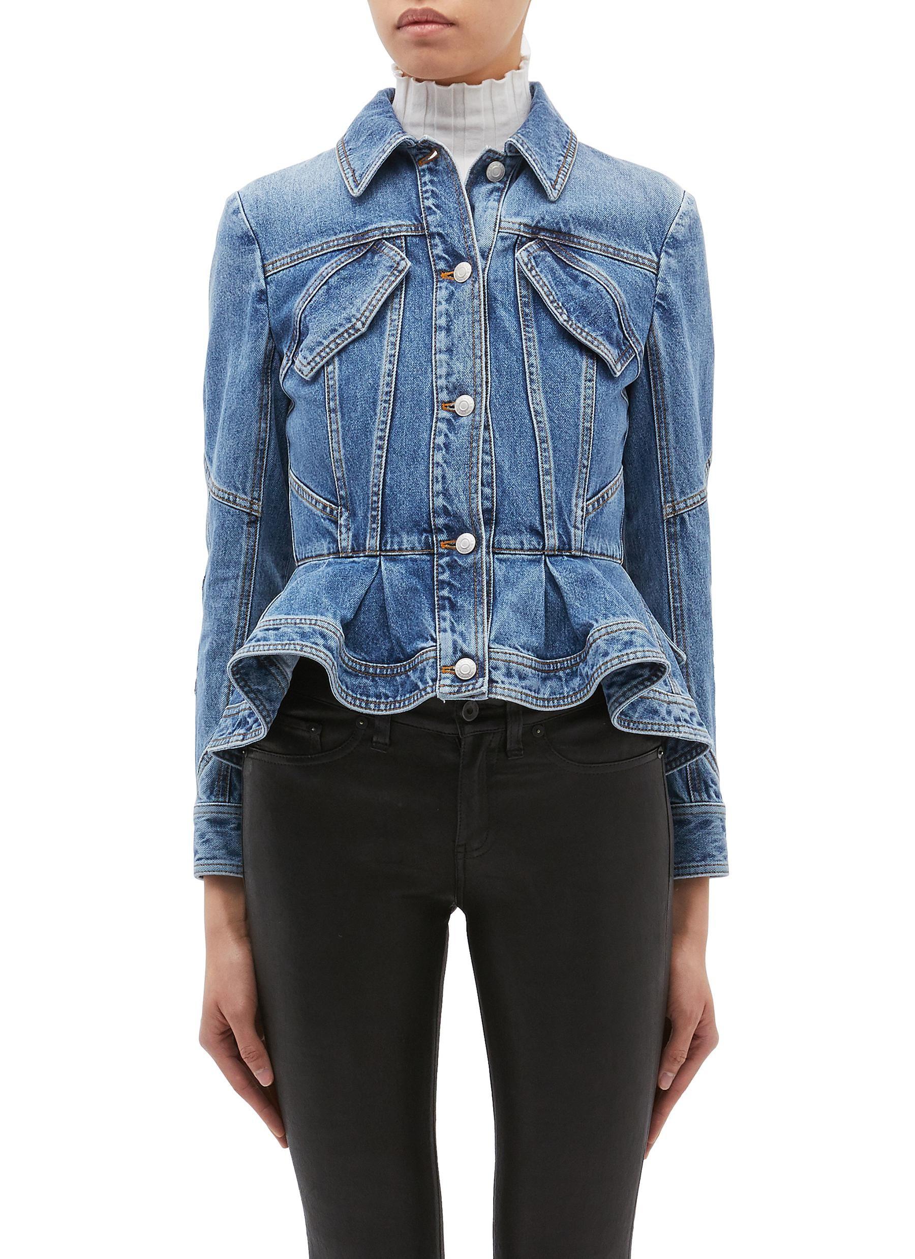 Main View Click To Enlarge Denim Fashion Denim Design Peplum Jacket [ 2475 x 1800 Pixel ]
