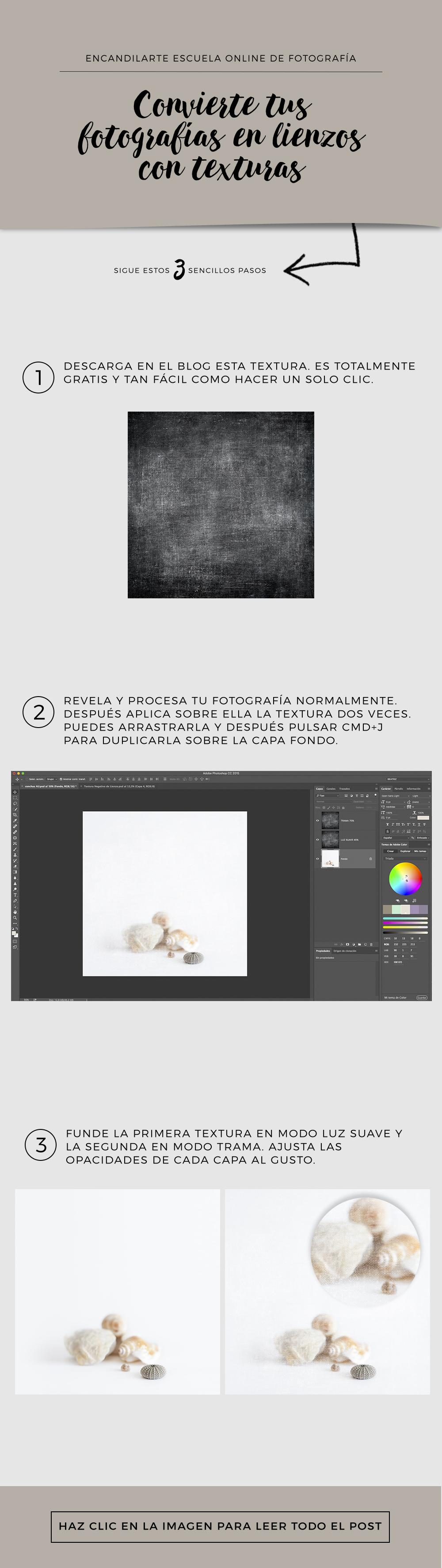 TUTORIAL PHOTOSHOP Convierte tus fotografías en lienzos con texturas. Encandilarte Fotografía. #escuelaencandilarte
