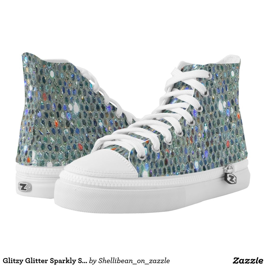 Glitzy Glitter Sparkly Silver Slipper Bling Printed Shoes